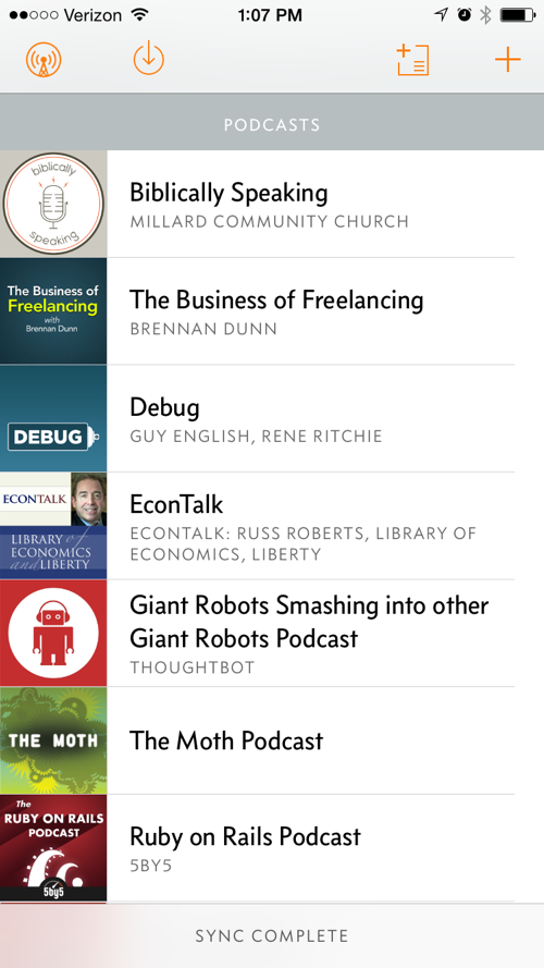 That's only 7 of the 29 podcasts I'm subscribed to